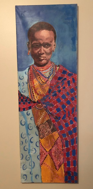 Struggle - 16 x 46 from a photo of a Masai Mara woman in Africa