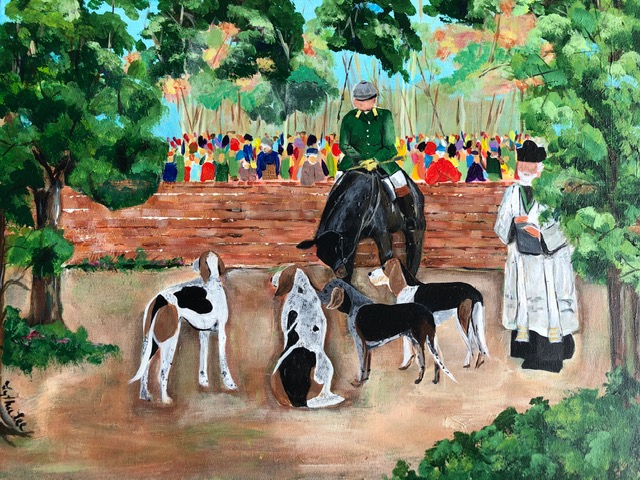 Blessing of the Hounds, Aiken SC $250, 24″ x 28″