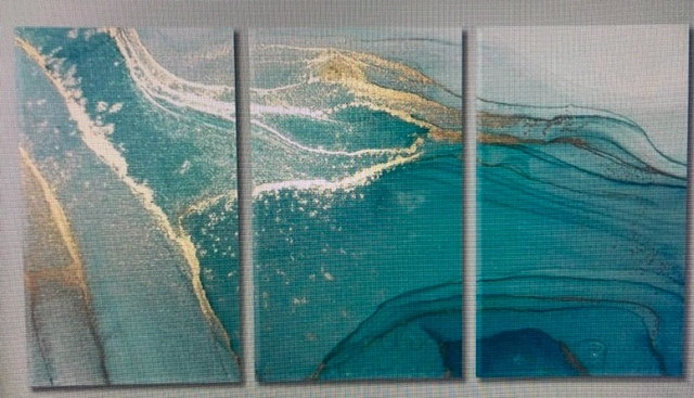 Flowing, $500, 6′ x 4′, each panel 2′ x 4′